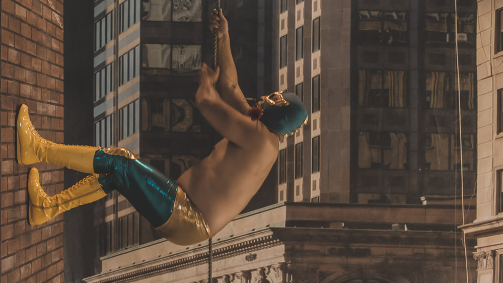 Short film Operation Luchador Fiction documentary men climbing a wall like batman