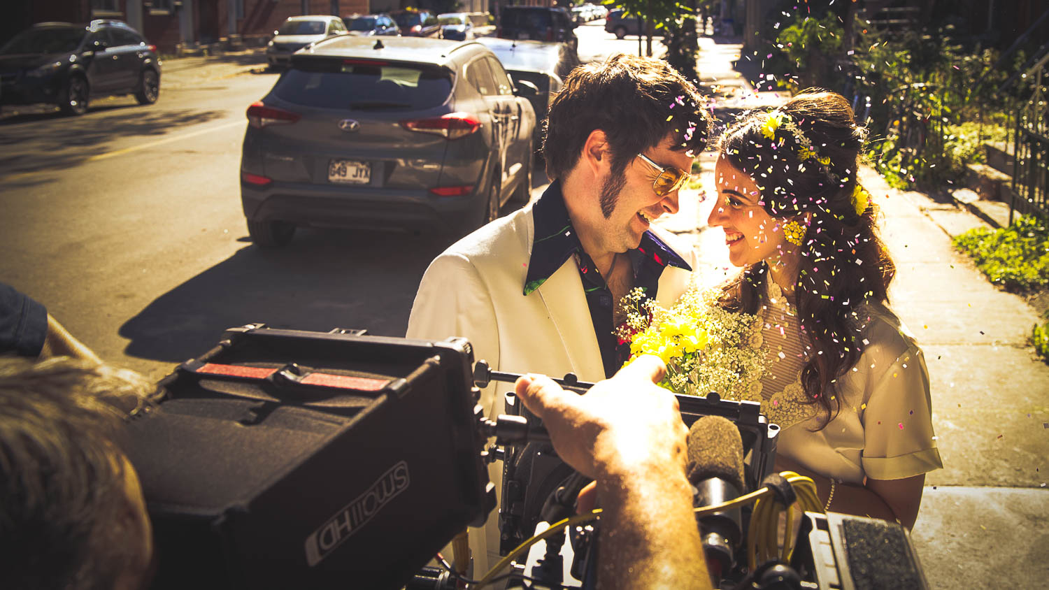 During the shooting of a scene from the short film the little change, exterior scene of a young couple after their wedding . The film was produced in Montreal, the photography was done by Richard Duquette, cinematographer from Montreal.