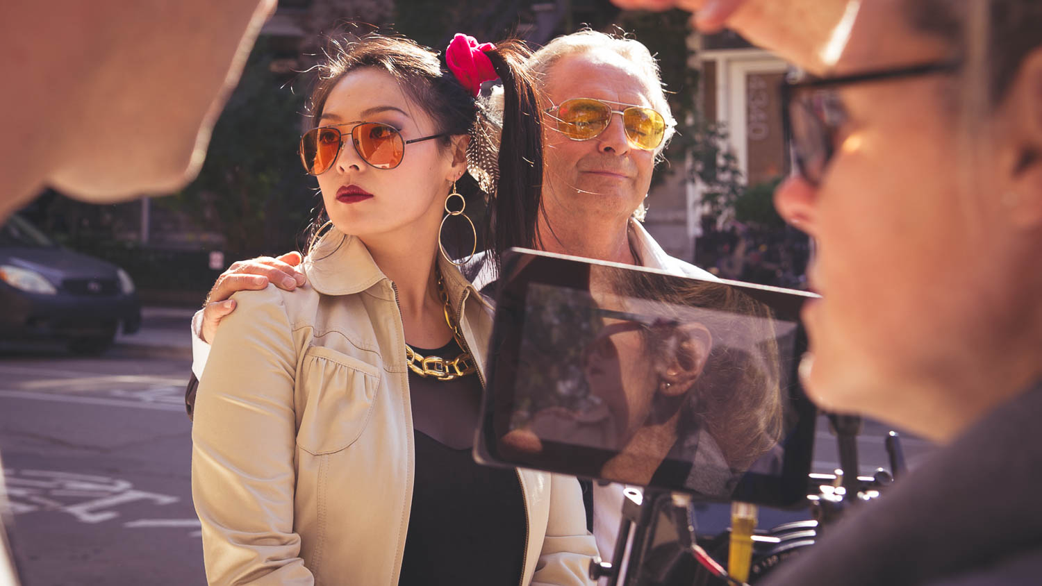 During the shooting of a scene from the short film the little change exterior scene of an old man and is bride, a young Chinese woman. The film was produced in Montreal, the photography was done by Richard Duquette, cinematographer from Montreal.
