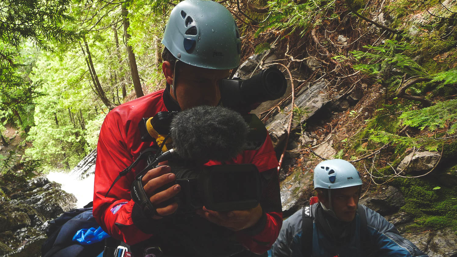 During the production of the TV Show the Great Trails Season 1, the director of photography and director Richard Duquette during a canyoning expedition in the Charlevoix region, near Baie Saint-Paul, Quebec, Canada.
