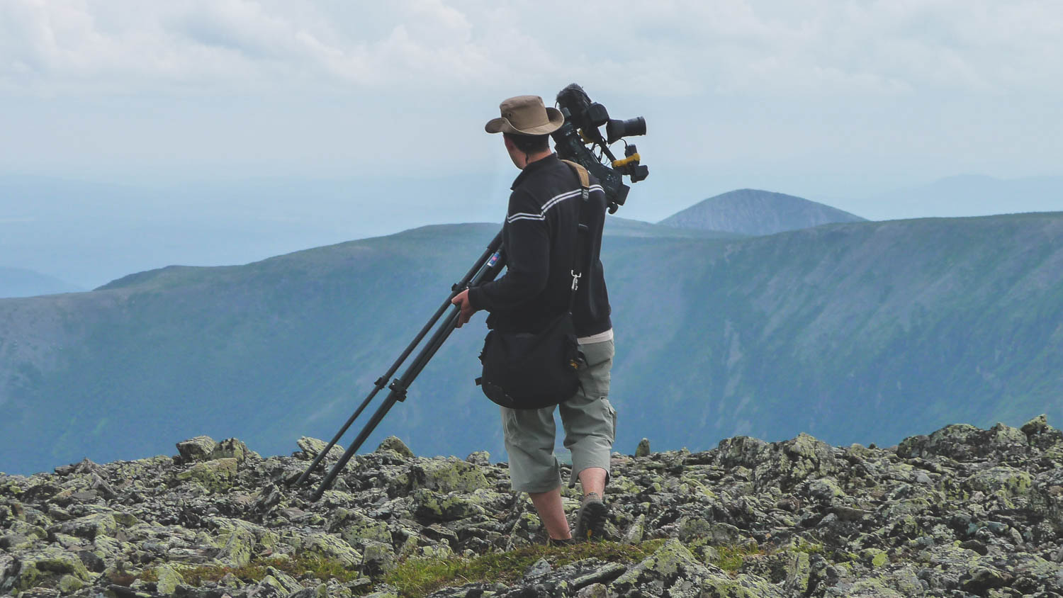During the production of the TV Show the Great Trails Season 1, the director of photography and director Richard Duquette on top of the Mont Jacques Cartier in the Gaspesian Peninsula, Quebec, Canada.