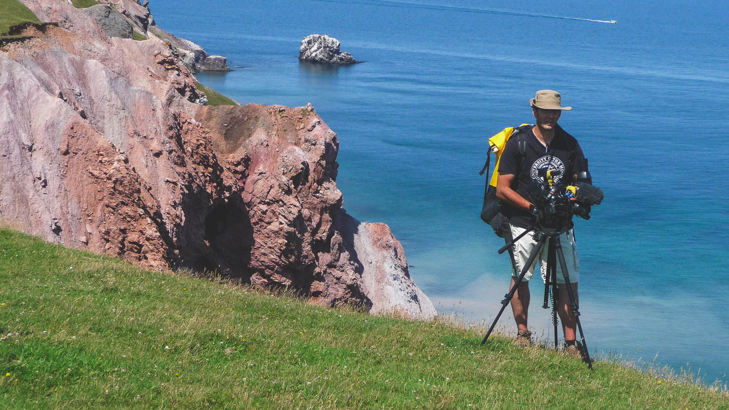 During the production of the TV Show the Great Trails Season 1, the director of photography and director Richard Duquette during on top of a cliff in the Magdalena Island, Quebec, Canada.