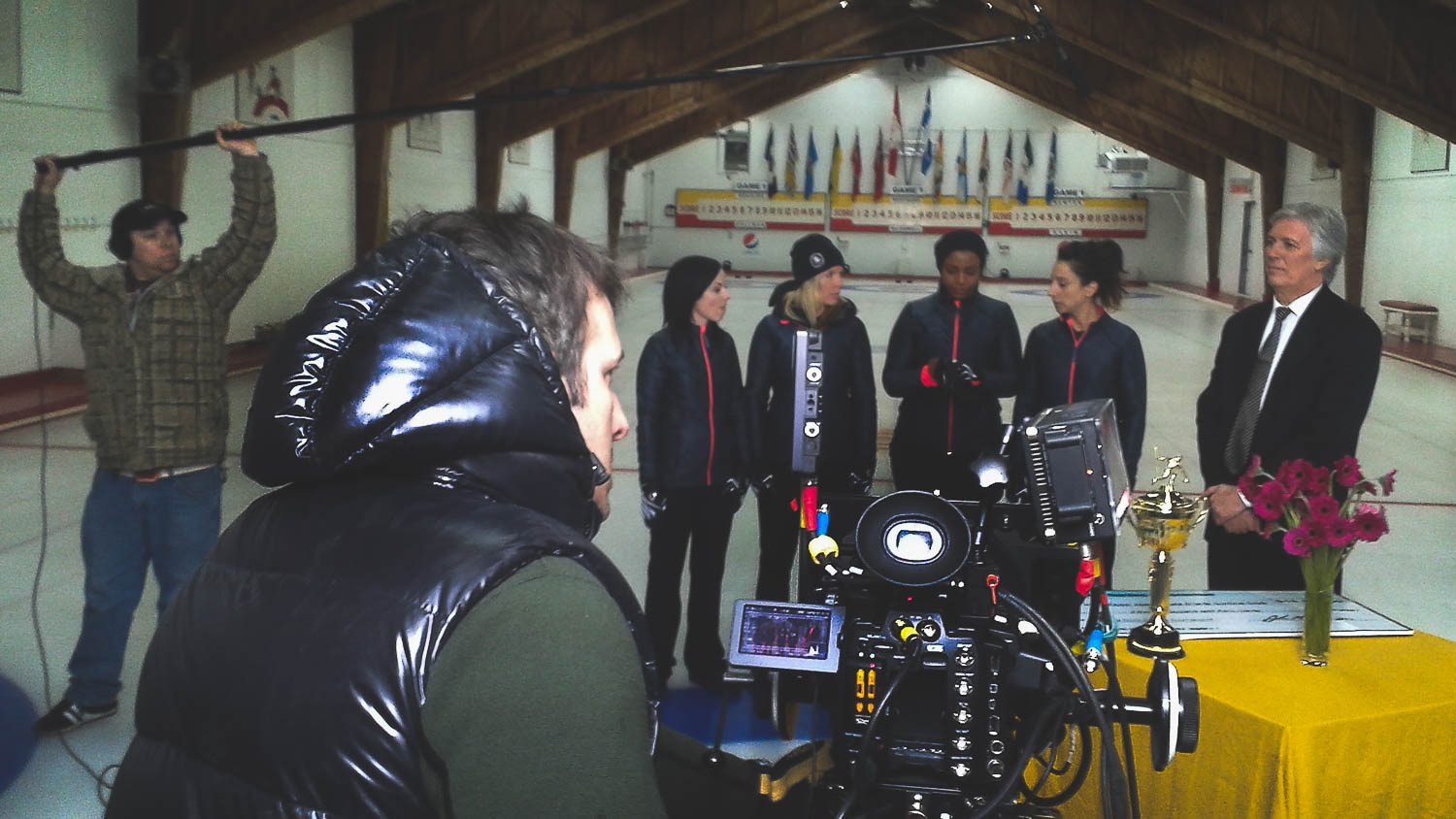 During the reshoot of a scene from the film Sweeping Forward of the Director Patricia McDowell Interior scene of a curling team winning the tournament. The film was produced in Montreal and the photography was done by Richard Duquette, cinematographer from Montreal.