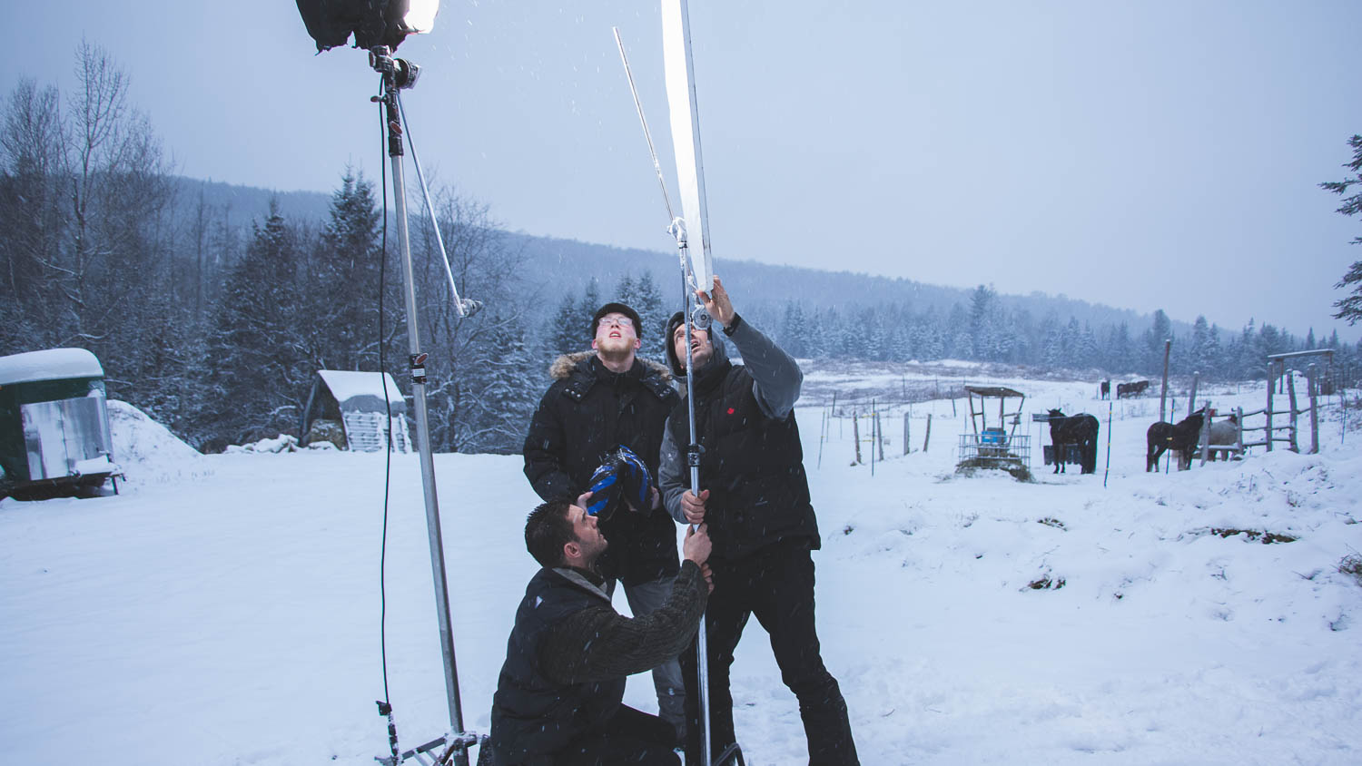 Final setup with the lighting equipment during the shooting of the short-film Valery's suitcase from the director Arshad Khan. the last scene was in a farm with horse, near the town of Rawdon, Quebec, Canada